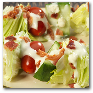 Salad Skewers with Bacon and Blue Cheese